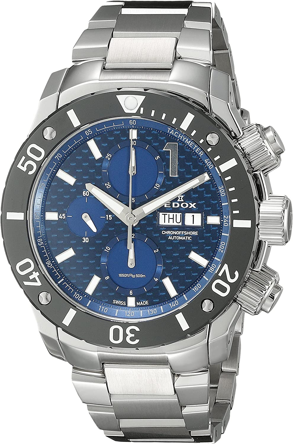 Edox Men s 01114 3M BUIN Chronoffshore Analog Display Swiss Automatic Silver Watch