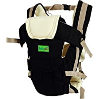 BabyGo Soft Adjustable 4-in-1 Baby Carrier with Comfortable Head Support and Buckle Straps (Black)