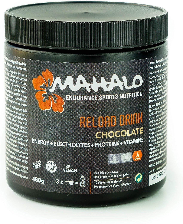 MAHALO RELOAD DRINK 450 g. Bebida recuperadora (Recovery) con Proteína vegana, Carbohidratos, Electrolitos, Vitaminas y Minerales para consumir después de la actividad física. (10 dosis) (Chocolate): Amazon.es: Salud y cuidado personal