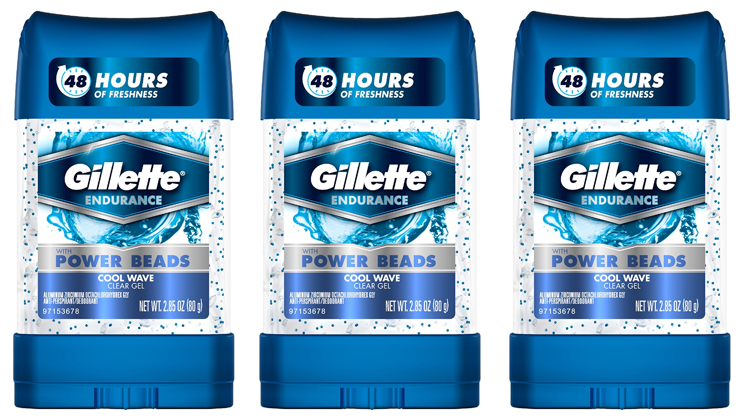 Gillette Clear Gel Power Beads Cool Wave Antiperspirant and Deodorant, 2.85 oz (pack of 3) by Gillette (Image #1)