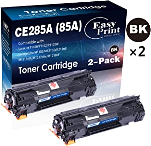 (2-Pack, 2xBlack) Compatible 85A CE285A Toner Cartridge Used for HP P1100 P1102W Pro M1132 M1210 M1212nf M1214nfh M1217nfw M1219nf Printer, by EasyPrint