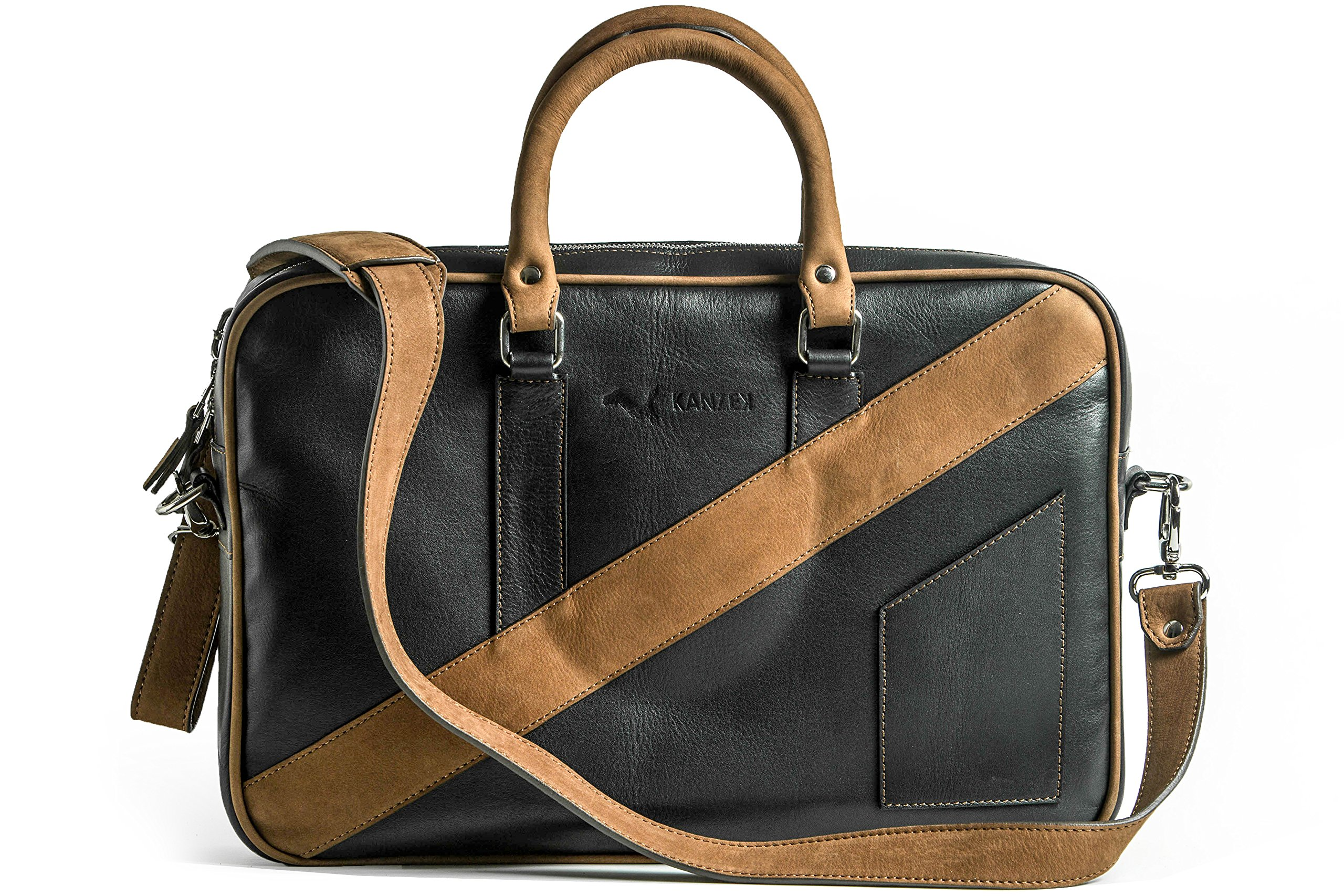 KANZEK Black and Brown Full Grain Leather Laptop Messenger Briefcase / Shoulder Bag, 15.6'' Computers, Light and Professional. Premium Materials and Design, Luxury Metal Zippers - Men's and Women's by KANZEK