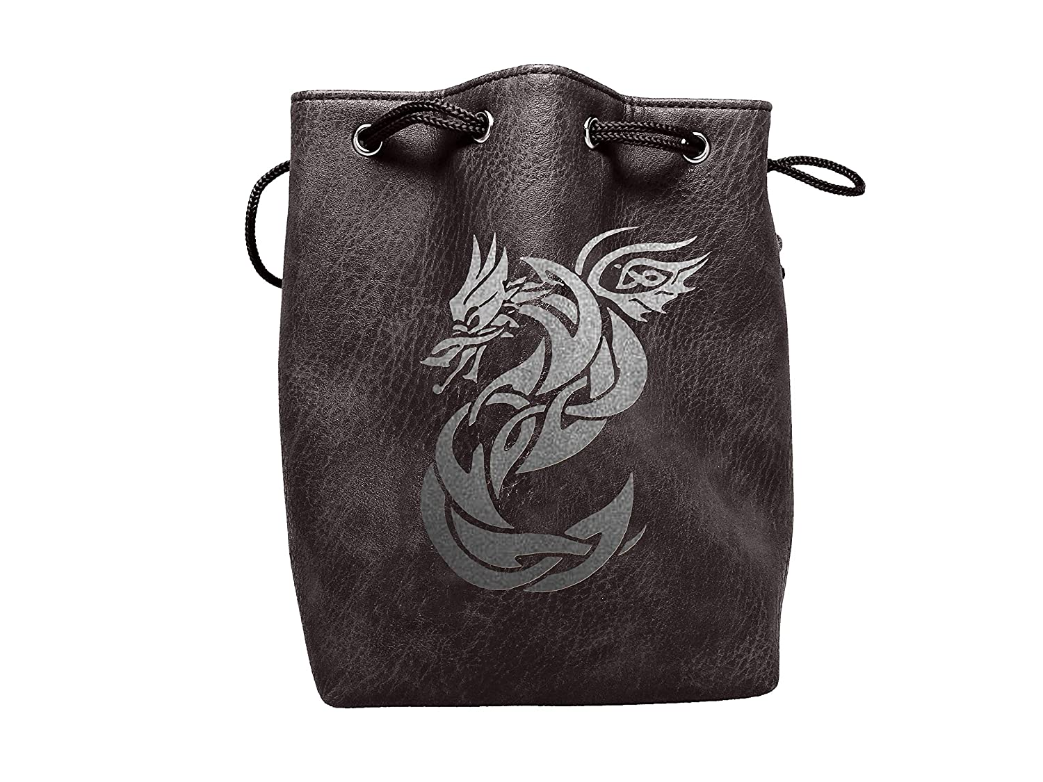 Black Leather Lite Large Dice Bag Celtic Knot Dragon Design - Black Faux Leather Exterior Lined Interior - Stands up on its Own Holds 400 16mm Polyhedral Dice   B07GD7PHZJ