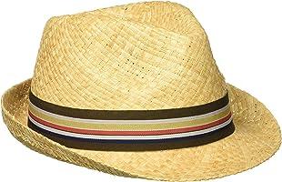 Henschel Men's Hand Woven Soft Raffia Straw Fedora with Striped Band