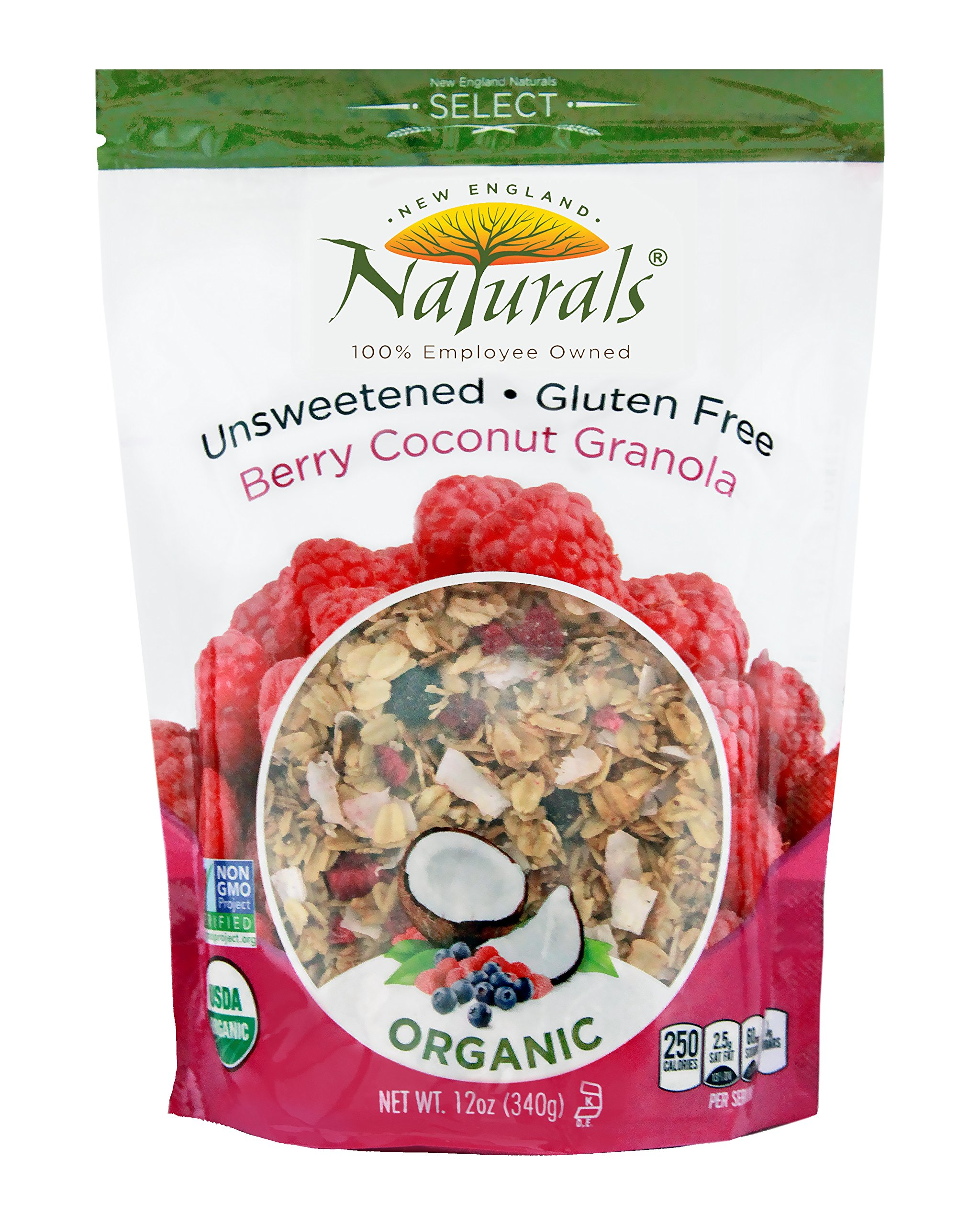 New England Naturals Organic Gluten Free Unsweetened Granola Berry Coconut -- 12 oz