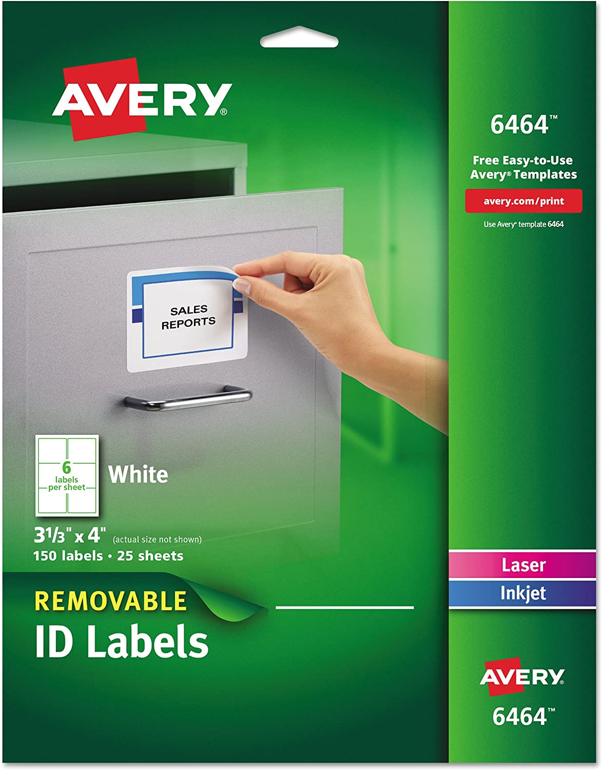 Avery Removable 3-1/3 x 4 Inch White ID Labels 150 Pack (6464) : Removable Labels : Office Products