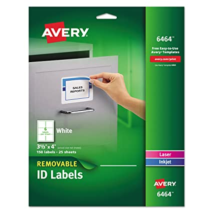 amazon com avery removable 3 1 3 x 4 inch white id labels 150 pack