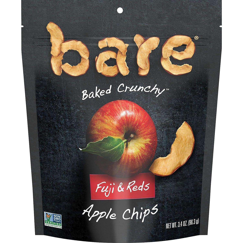 Bare Natural Apple Chips, Fuji & Reds, Gluten Free + Baked, Multi Serve Bag - 3.4 Oz (Pack of 6)