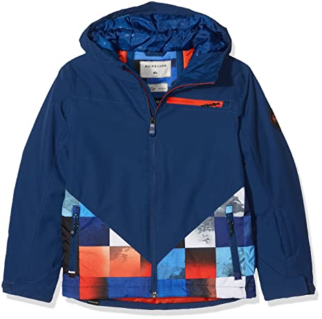Quiksilver Suit Up Youth Jk Chaqueta para Nieve, Hombre, Azul (Mandarin Red Pattern_1