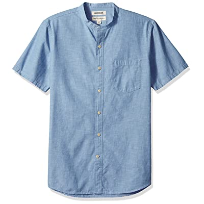 Brand - Goodthreads Men's Standard-Fit Short-Sleeve Band-Collar Chambray Shirt: Clothing