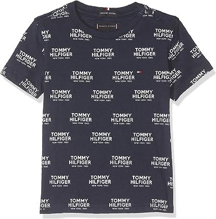 Tommy Hilfiger All Over Print Logo tee S/s Camiseta, Azul (Black Iris 002), 95 (Talla del Fabricante: 80) para Bebés: Amazon.es: Ropa y accesorios