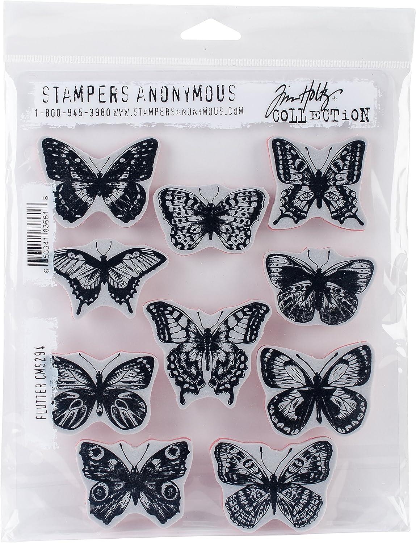 Art Gone Wild AGCMS294 Tim Holtz Flutter Cling Rubber Stamp Set, 24.5 x 18 x 0.6 cm, Multi-Colour
