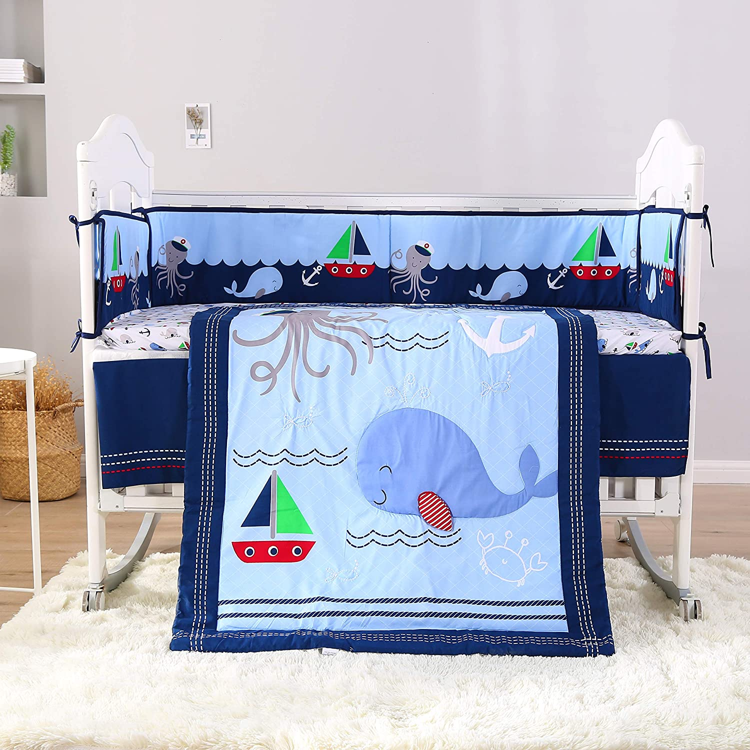 Wowelife Blue Crib Bedding Sets Sea Octopus and Whale Baby Crib Sets 7 Piece(Blue-7 Piece)