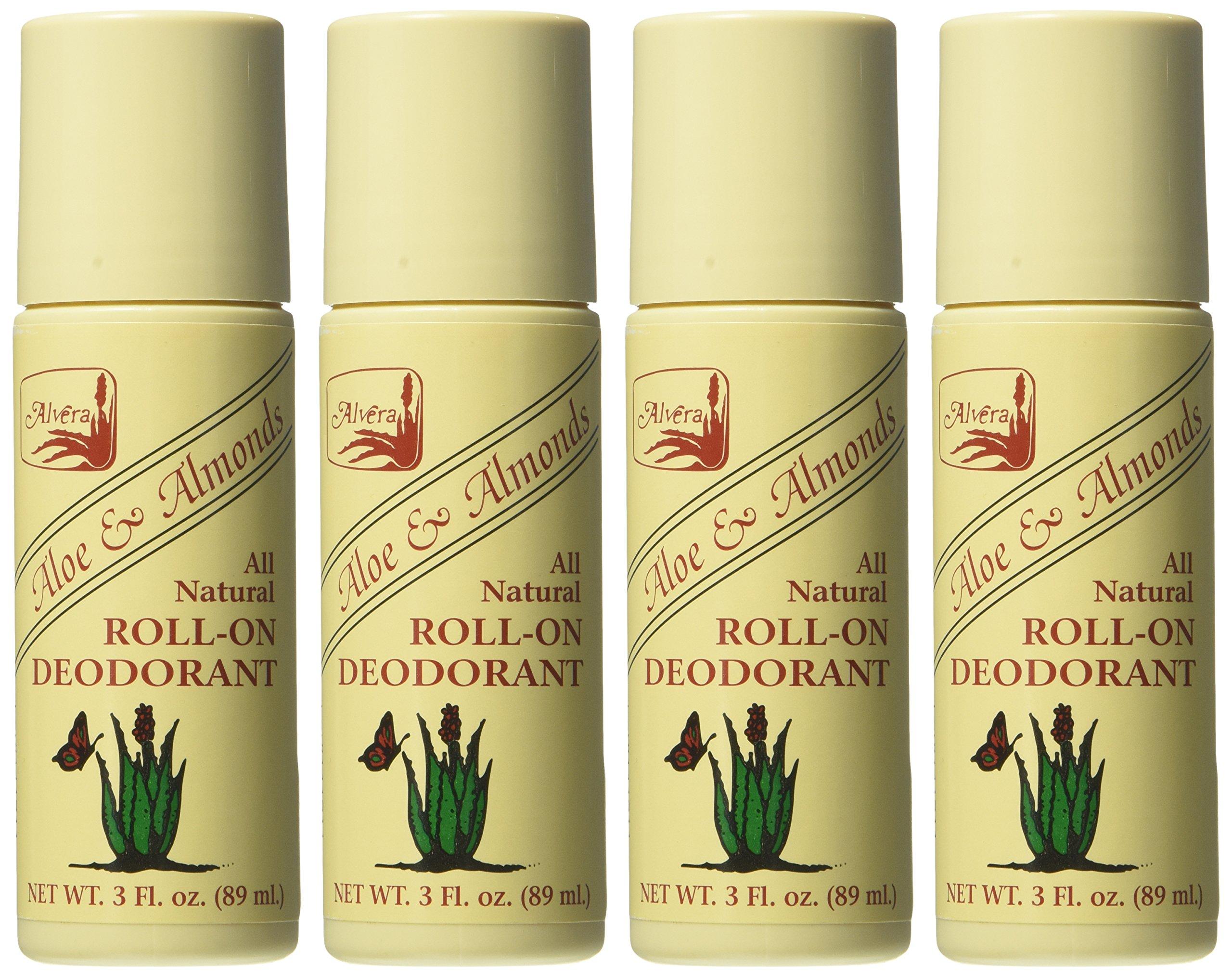 Alvera All Natural Roll-On Deodorant Aloe & Almonds - 3 Fl Oz, 4 pack by Alvera (Image #2)