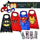 Costumes de Super Héros pour Enfants LAEGENDARY - Cadeaux d'anniversaire - 4 Capes et Masques – Logo Spiderman qui Brille dans le Noir - Jouets pour Filles et Garçons