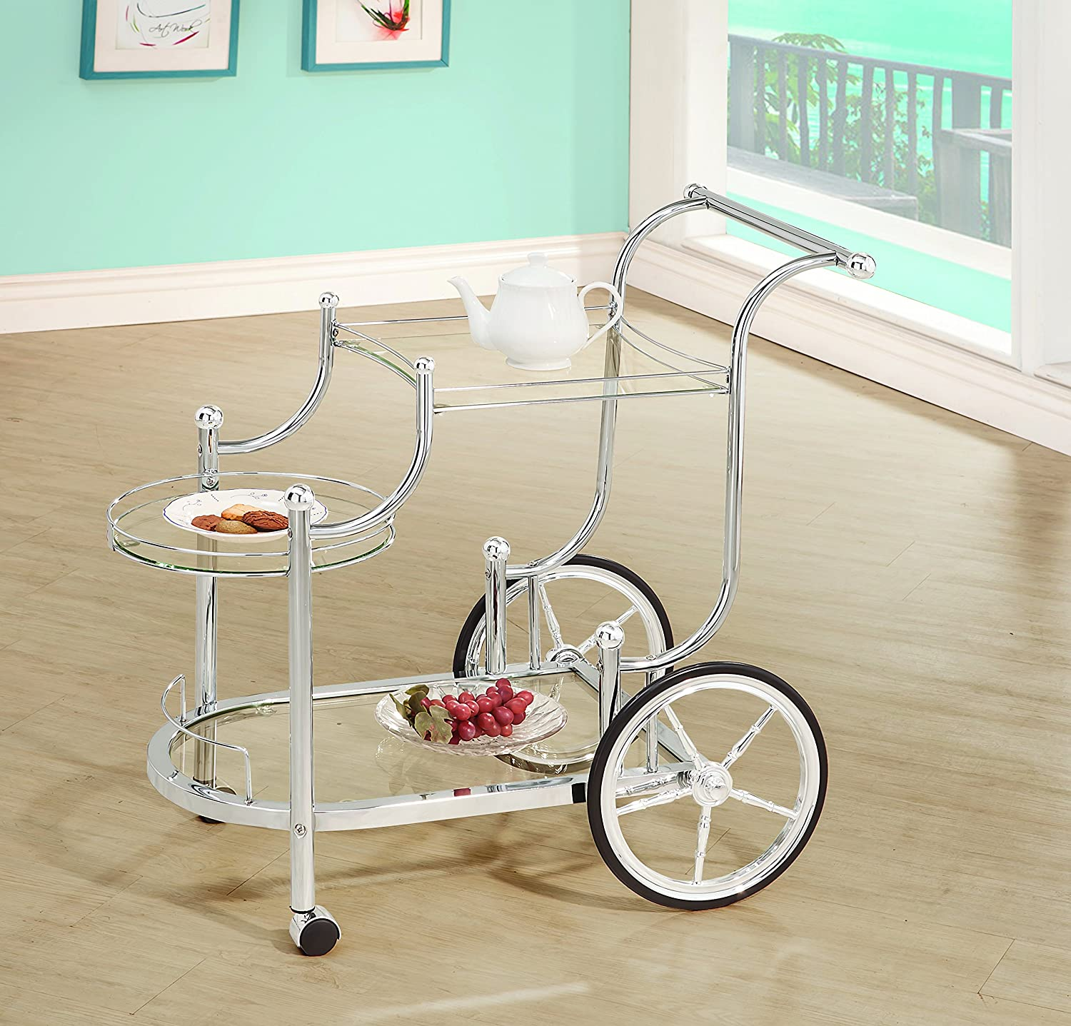 Wheeled Serving Cart with Finials Chrome and Clear Coaster Home Furnishings 910076