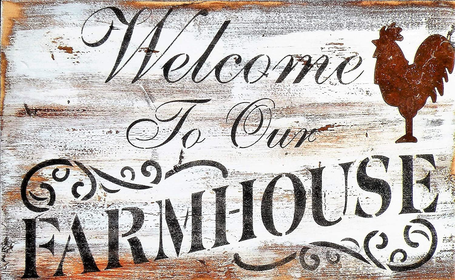 Amazon Com Hand Painted Welcome To Our Farmhouse Painting Rustic Handmade Farmhouse Welcome Sign Distressed Pine Wood Farm Quote Hand Painted Sign Windmill Painting Rusty Rooster Sign Handmade