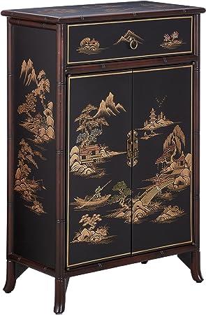 Oriental Furniture Meuble A Chaussures Japonais Noir Craquele Amazon Fr Cuisine Maison