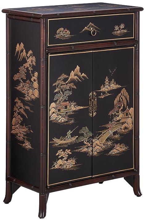 Oriental Furniture Japanese Shoe Cabinet   Black Crackle