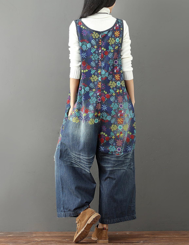 TUDUZ Damen Baggy Latzhose Retro Overall Sommerhose Jumpsuits Trousers Bib Pants Lange Wide Leg Hosen