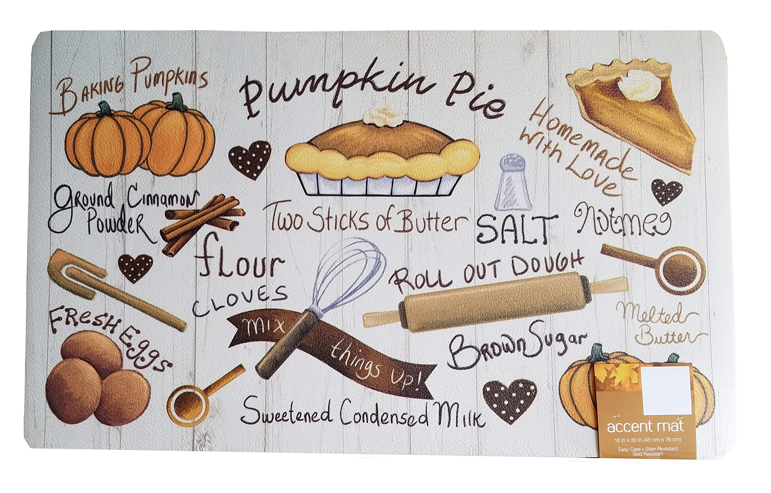Thanksgiving Kitchen Mat Pumpkin Pie Cushion Skid-Resistant 18 x 30 inches