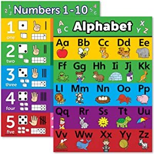 ABC Alphabet & Numbers 1-10 Visual Learning Poster Chart Set - Laminated - Double Sided (18 x 24, Laminated)