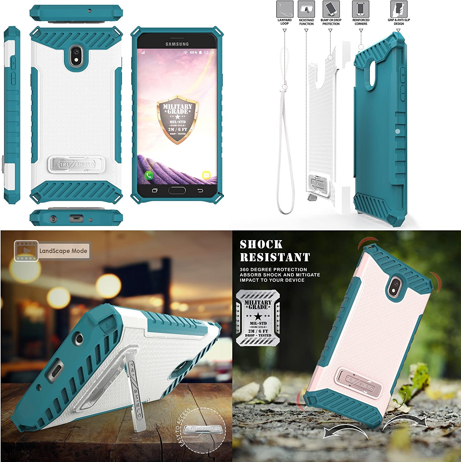 with Flexible USB Cable Dolphins Bemz Accessory Bundle for Samsung Galaxy J7 Refine J7 V 2nd Gen, Star, Crown - Tri-Shield Military Grade Kickstand Case 3.3 Feet