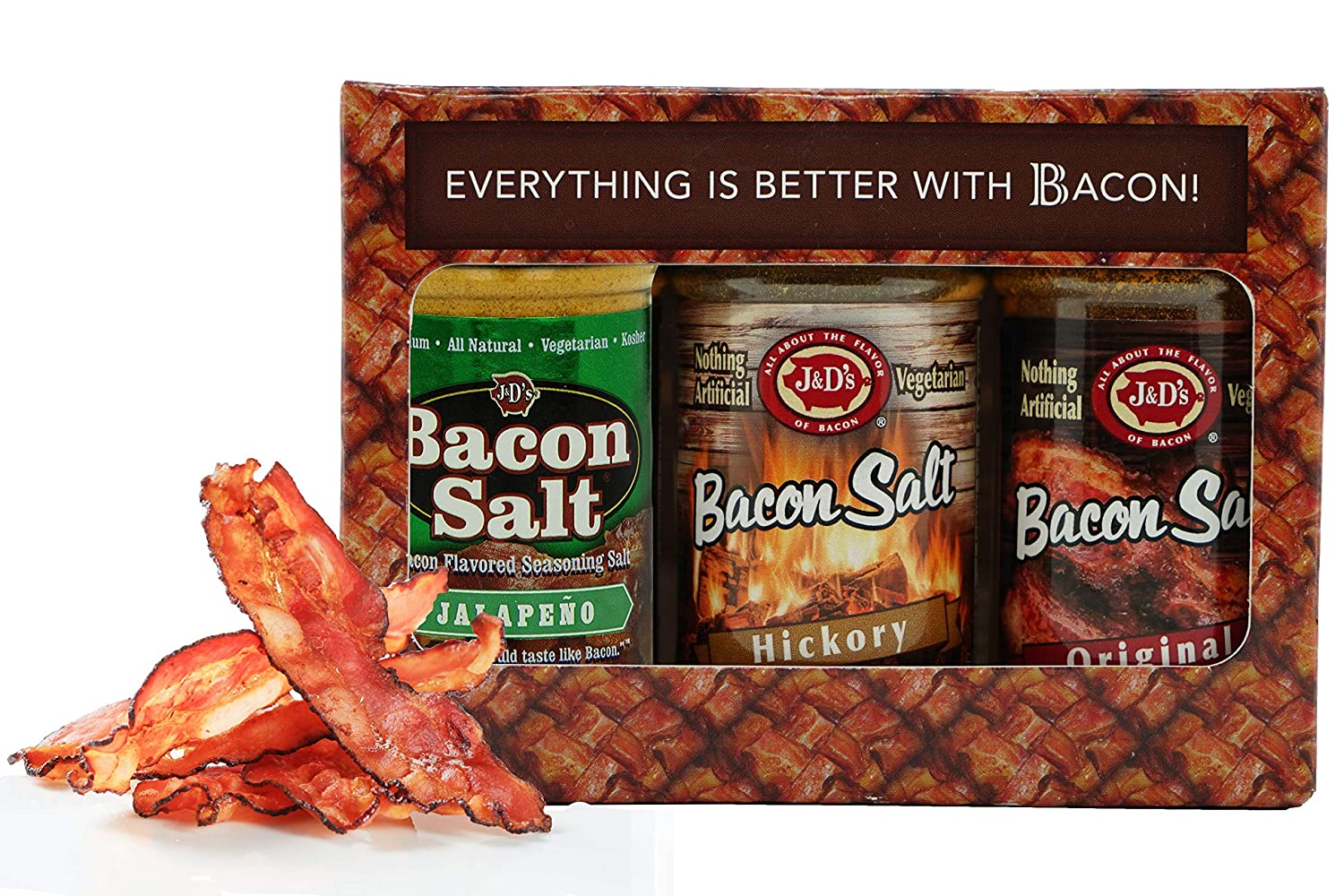 J&Ds Bacon Salt 3 Flavor Gift Box - Bacon Cure Seasoning Kit - Original, Hickory & Peppered Bacon Flavors - Vegan & Kosher Infused Salt – Unique Gift for Food Lover's - 3 x 2 Ounce Jars