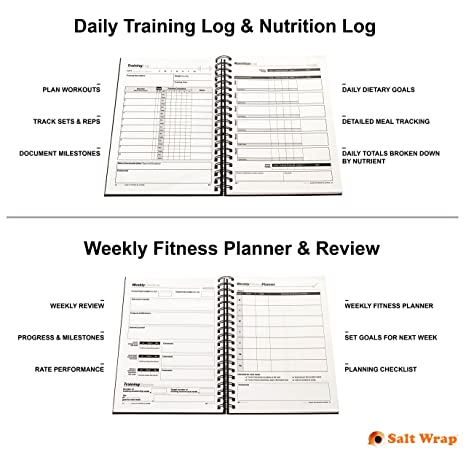 SaltWrap The Daily Fitness Planner Best Weight Training Log Food