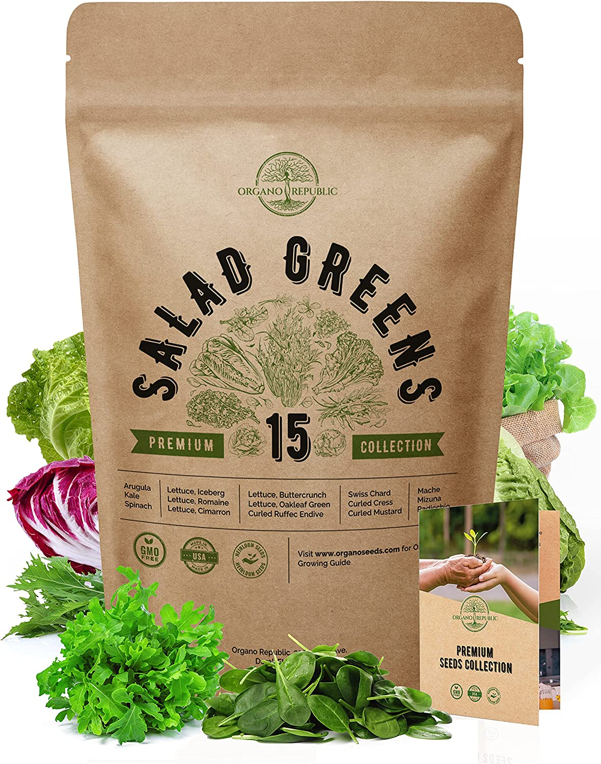 15 Lettuce & Salad Greens Seeds Variety Pack 7500+ Non-GMO Heirloom Lettuce Seeds for Planting Indoors & Outdoors Garden, Hydroponics, Aerogarden - Arugula, Kale, Spinach, Swiss Chard, Lettuce & More