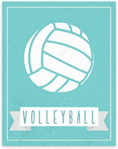 Sport Balls: Volleyball in Aqua 11x14 Print Poster, Room Décor, Sports, Volleyball Print, Typography Print, Volleyball Poster, Wall Décor, Love Volleyball, Passion For The Sport, Volleyball Rules