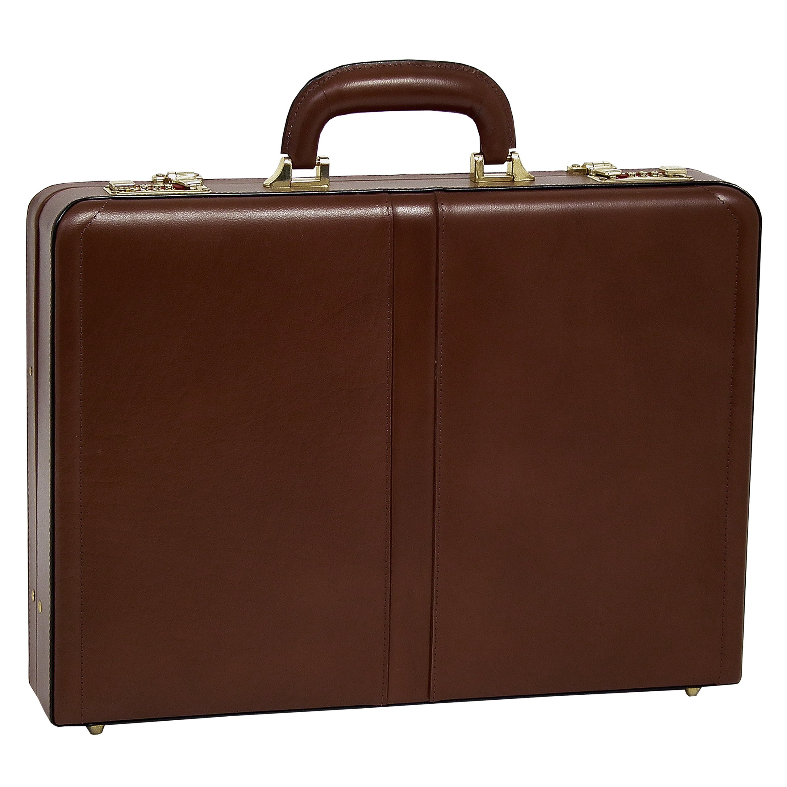 McKleinUSA Raegan [Personalized Initials Embossing] Leather 3.5'' Attache Briefcase in Brown