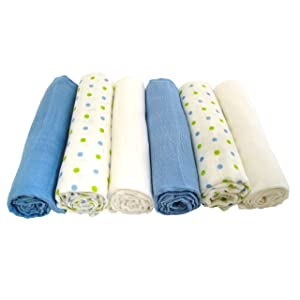 Muslinz Boys Mix Baby Muslin Squares (Pack of 6, Blue)