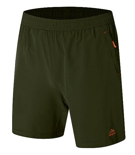 Men's Clothing Summer Sport Running Gym Men Loose Elastic Waist Outdoor Men Quick Dry Ultra-light Zipper Pocket Embroidery Army Shorts Men