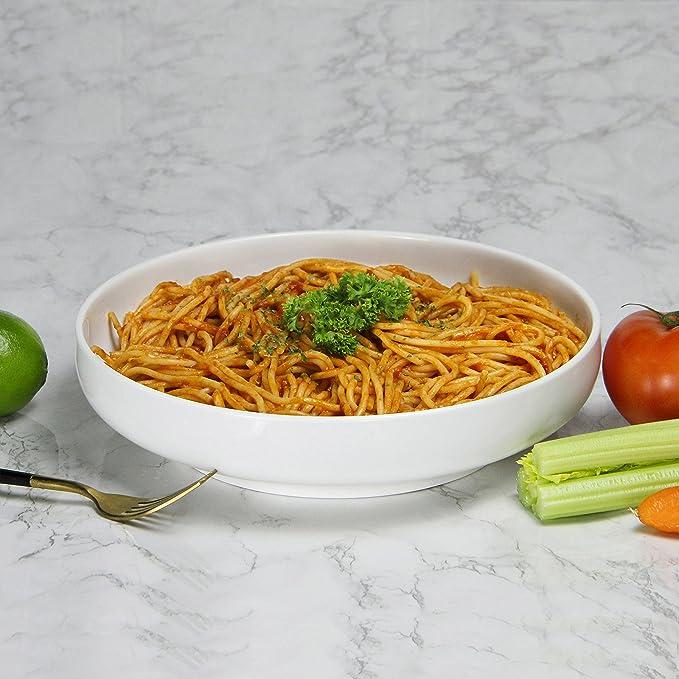 Dowan 10 Inch/60oz porcelana ensalada de Pasta/bowls- 2 paquetes, poco profundo, color blanco: Amazon.es: Hogar
