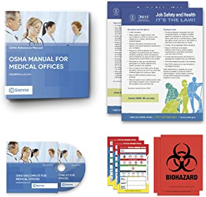 2020 OSHA Manual for Medical Offices Including Regulations and Standards Manual (hardcopy) + Safety Policies and Forms (CD) + Training Outline and Test + Resource CD + Posters + Labels