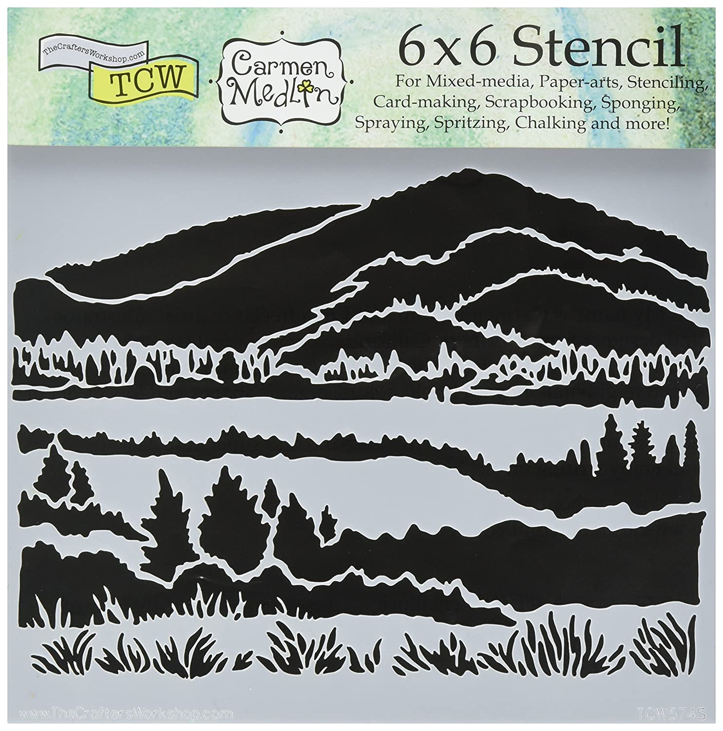 Crafters Workshop-Stencil, in plastica, 15 cm x 15 cm, Mountain View TCW6X6-574