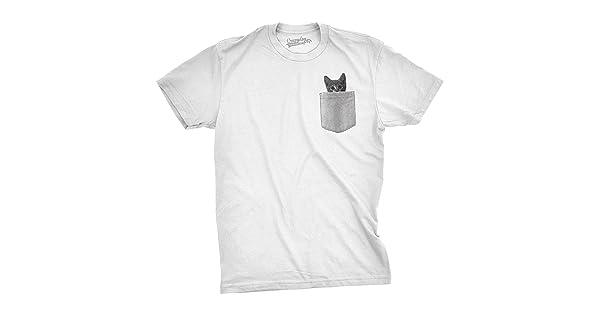 2195d5510f64 comMens Pocket Cat T Shirt Funny Printed Peeking Pet Kitten Animal Tee for  Guys (White) ...