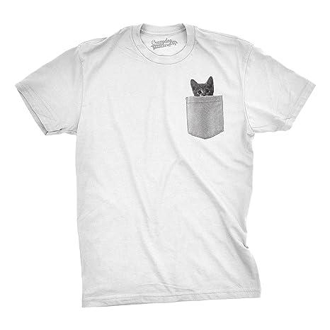 667f7a230 Mens Pocket Cat T Shirt Funny Printed Peeking Pet Kitten Animal Tee ...
