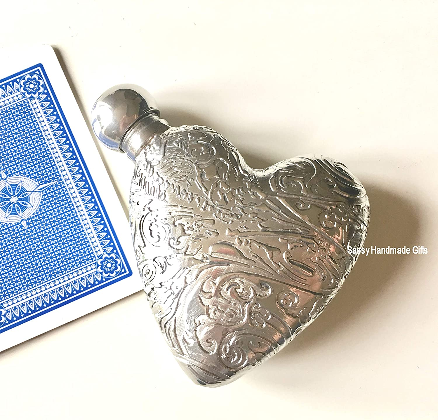 3oz 3D Plain Heart Shaped Quality English Pewter Hip Flask for Valentines Day by Sassy Handmade Gifts /®