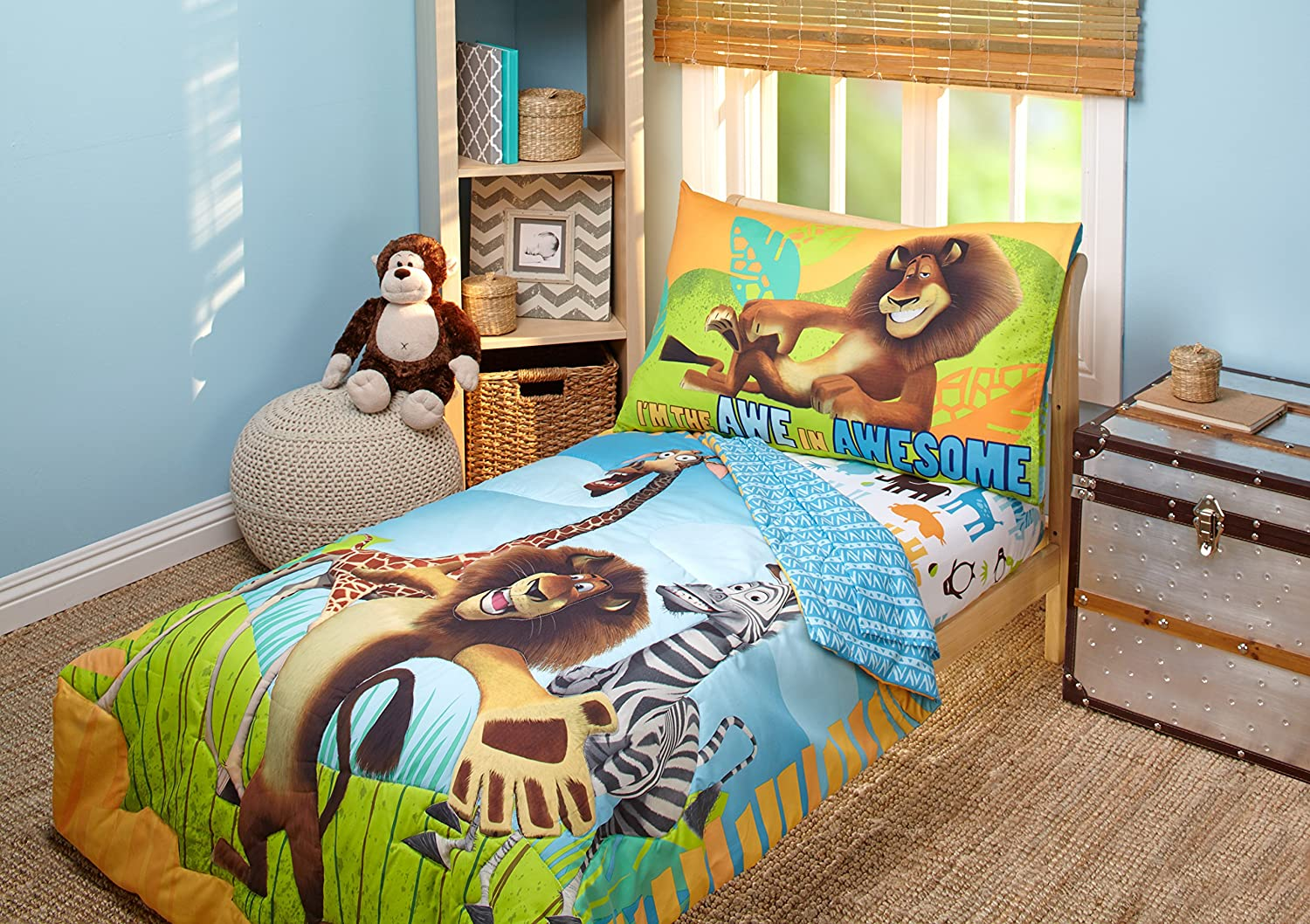 Disney DreamWorks Animation Madagascar Behold My Mane 4 Piece Toddler Bedding Set, Toddler Crown Crafts Infant Products Inc. 7302416