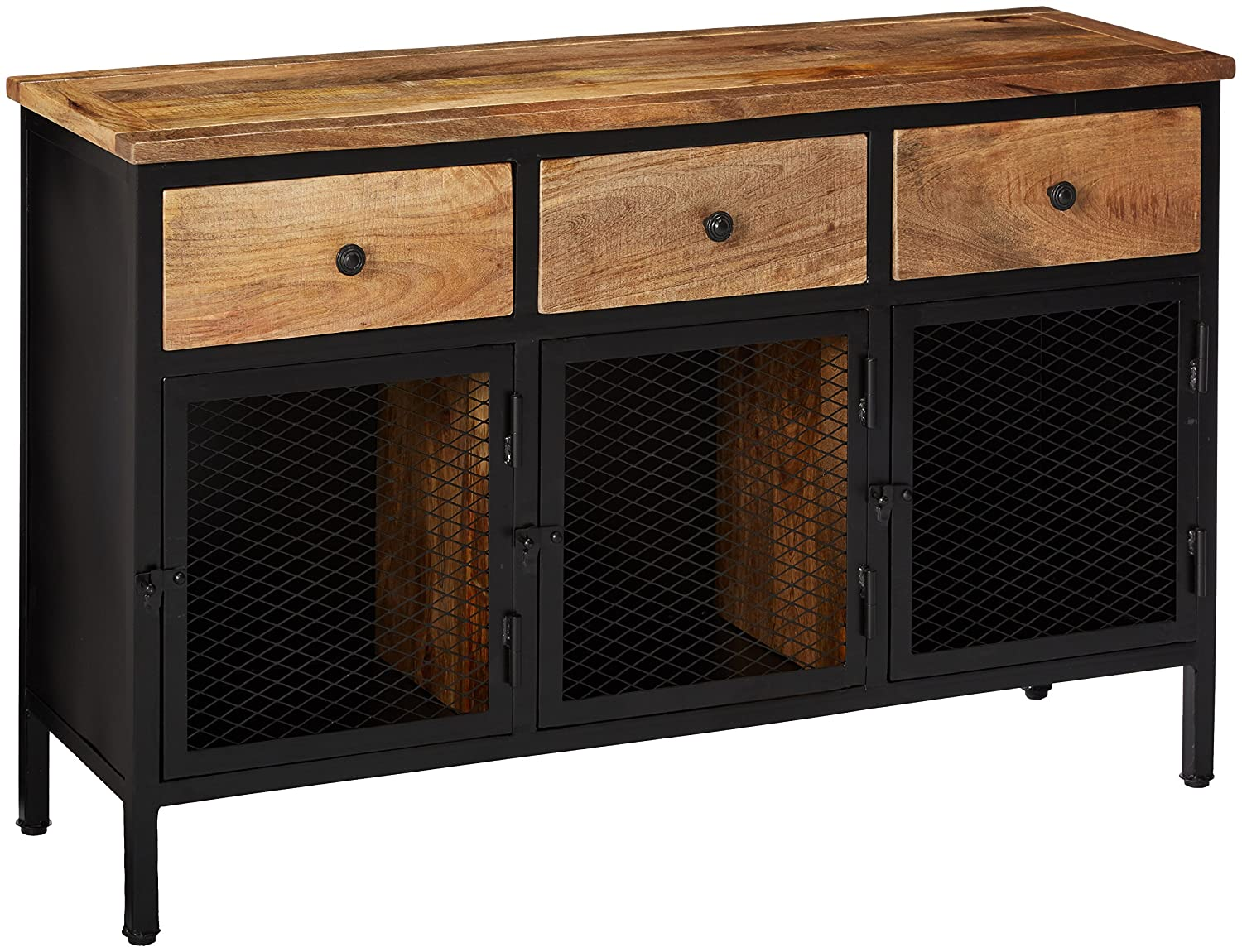 Amazon com ashley furniture signature design ponder ridge accent cabinet 3 storage cabinets 3 drawers light finished wood black metal kitchen