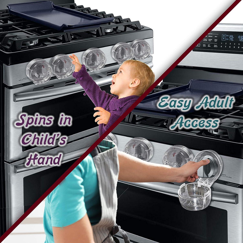 para seguridad infantil transparente paquete de 5 bloqueos de hornos de estufa Fundas para pomos de estufa de gas a prueba de beb/és universal a prueba de ni/ños tama/ño grande