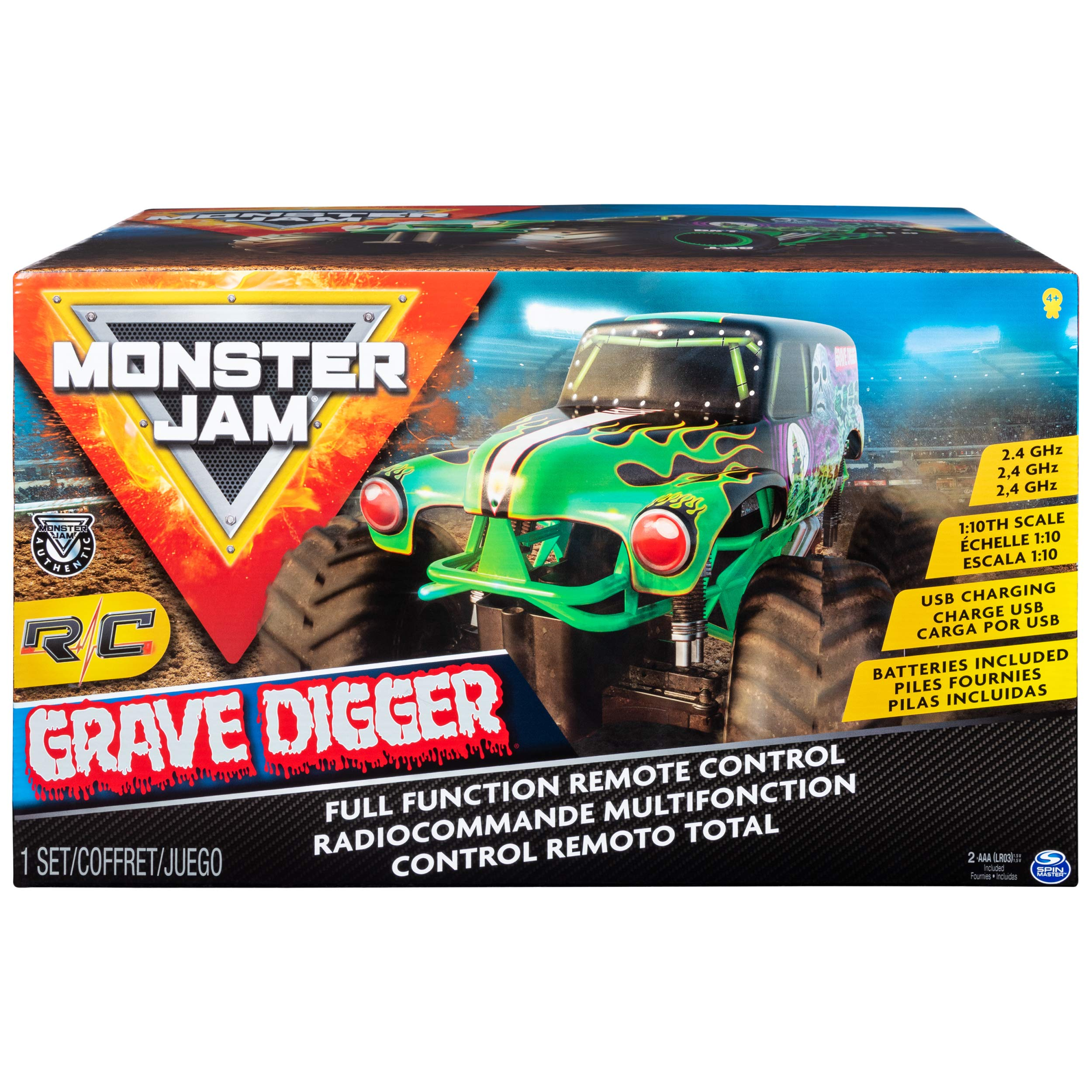 Monster Jam Official Grave Digger Rc Truck 1: 10 Scale with Lights & Sounds For Ages 4 & Up by Monster Jam (Image #2)