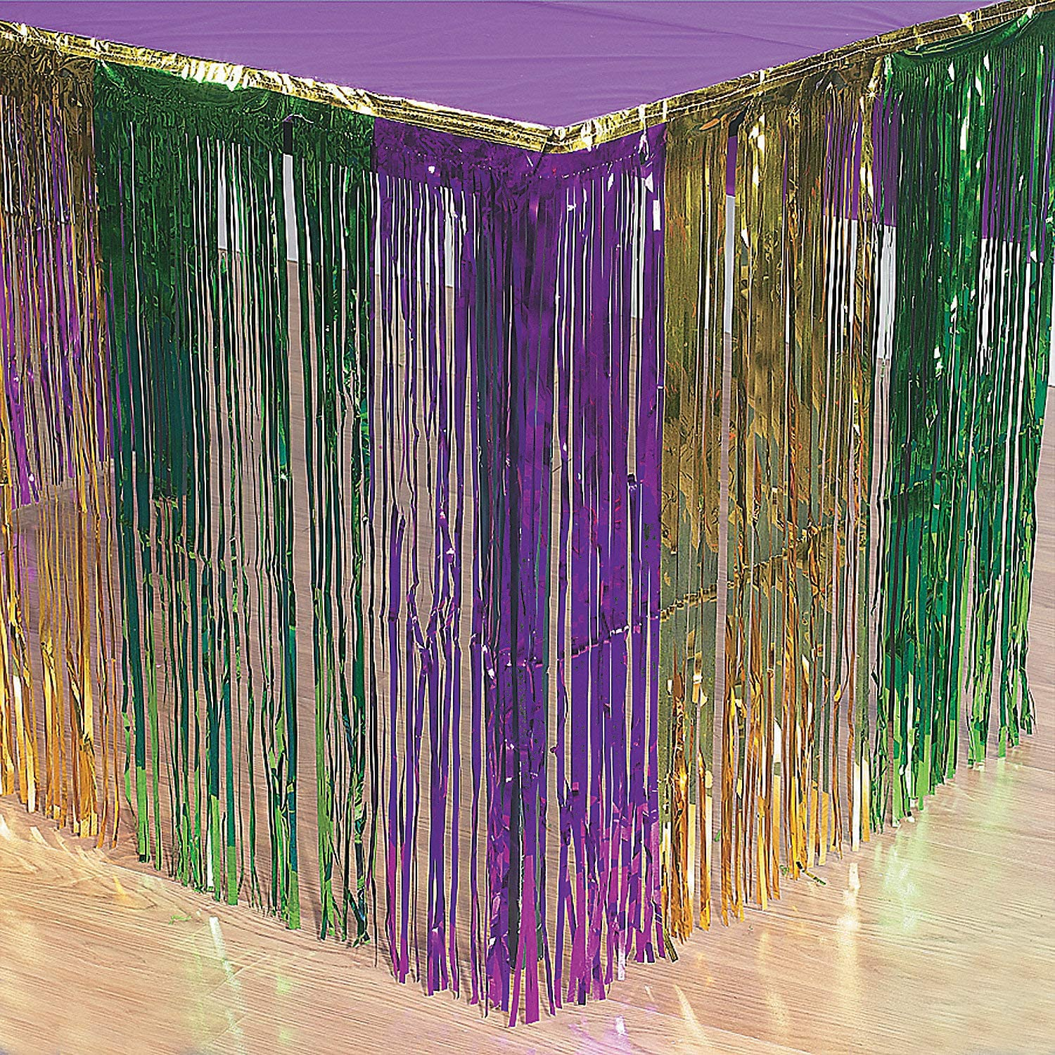 Fun Express Mardi Gras Metallic Fringe Table Skirt - Disposable Table Cover Party Decor