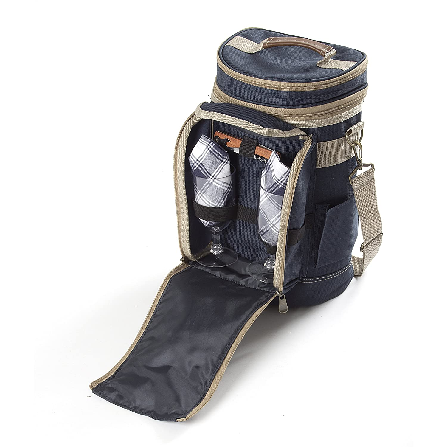 Greenfield Collection Contour Admiral Blue Wine Cooler Bag for Two People Kondor L&G CB2NBH Picnic Flask