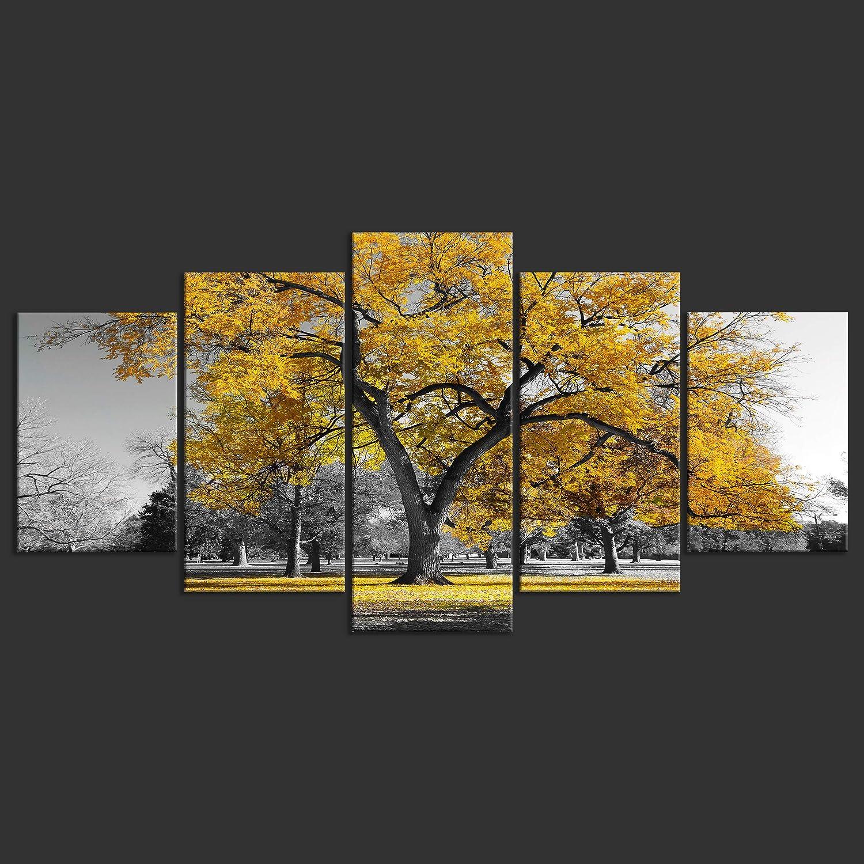 Tableau Mural Image sur Toile Photo Images Motif Moderne Decoration tendu sur Chassis Arbre Ciel Noir et Blanc Violet 5 Parties decomonkey Impression sur Toile intiss/ée Campagne 100x50 cm