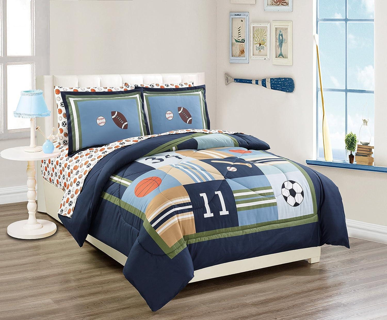 Fancy Linen 7 Pc Full Size Sport Kids Teens Baseball Basketball Football Soccer White Black Orange Brown Navy Blue Green Light Blue Comforter and Sheet Set New # Sport Navy