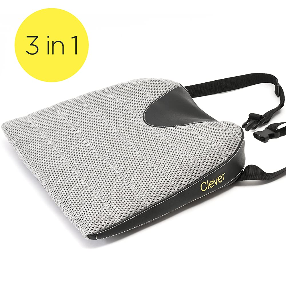 Car Seat Cushion with Strap | THICK 3 Inch Drivers Wedge | Coccyx Support for Back, Hip and Leg Pain | Orthopedic Clever Memory Foam with Breathable Mesh Cover | 18 Inches Front, 16 Back