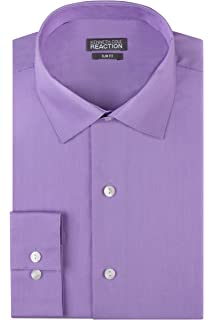 e69b9c699d Kenneth Cole REACTION Men's Chambray Slim Fit Solid Spread Collar Dress  Shirt
